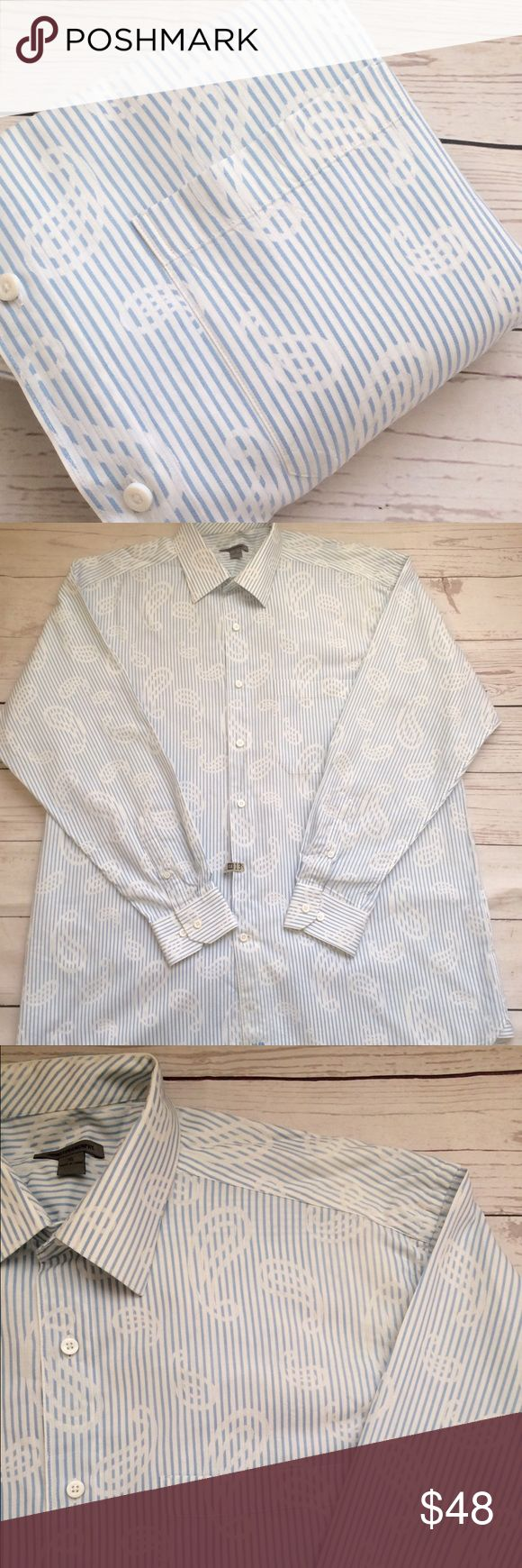 """•Johnston & Murphy• men's  long sleeve button front 100% cotton oxford shirt. Size XL per tag:runs small, see measurement below•J&M insignia near hem• slightly textured• small spot near hem as pictured, otherwise no flaws•  Chest: 26"""" Length: 34"""" Sleeve: 36"""" Shoulder: 22.5"""" Johnston & Murphy Shirts Casual Button Down Shirts"""