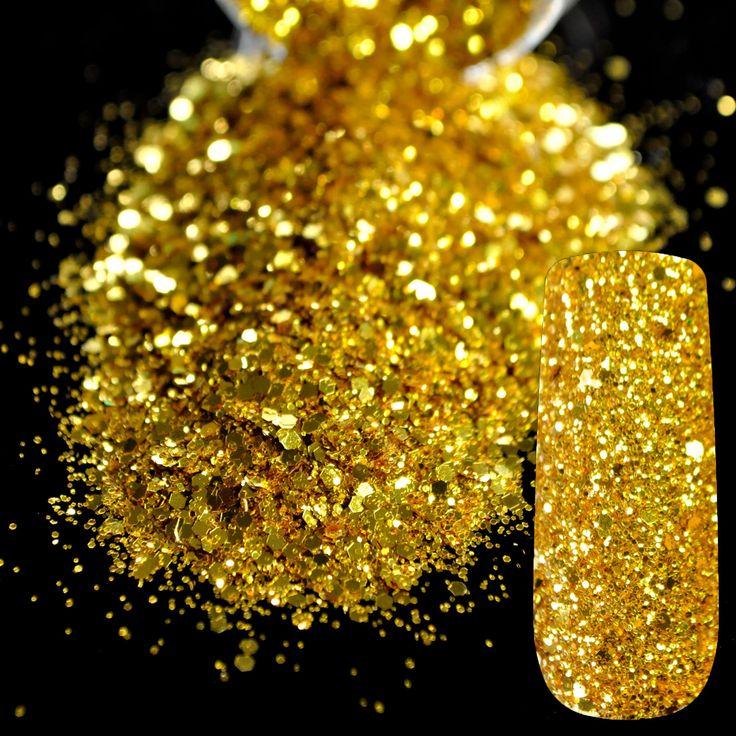 Dazzling Makeup Glitter Gold Nail Art Mix Size Glitter DIY Manicure 3D Dust Powder Pure Gold Sequins Nail Salon Products 257