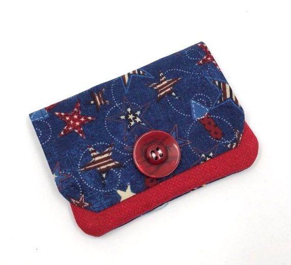 Patriotic Fabric Wallet, Credit Card Holder, Pocket Wallet