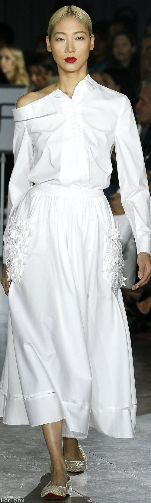 Trending Spring 2016 - Off One Shoulder White Button Up (image features: Zac Posen Spring 2016 RTW)