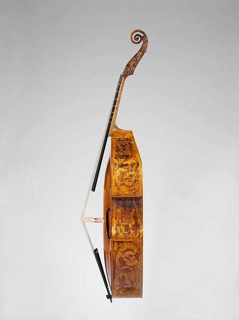John Rose | Bass Viola da Gamba | London, ca. 1600. The viol has a flat back and slopping shoulders. Beautifully decorated ribs and scroll.