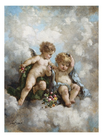 Beautiful mix of Cherubs and clouds
