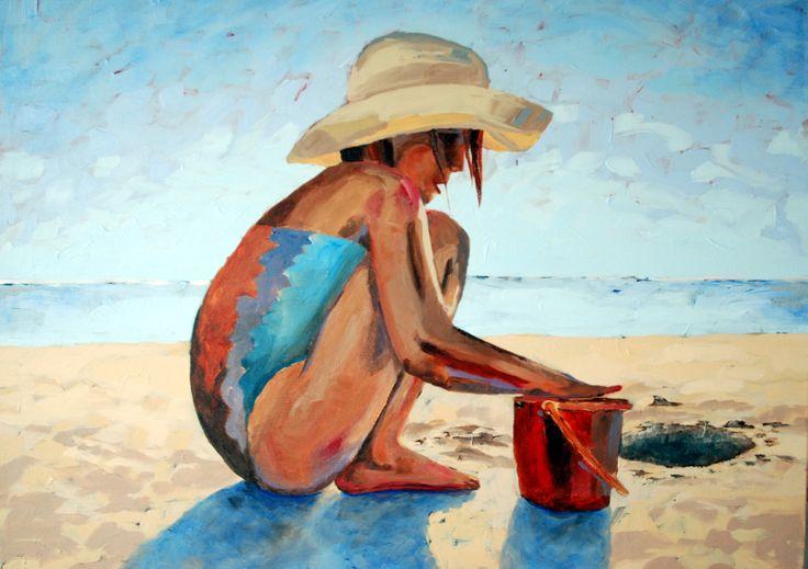 Girl on beach - acrylic on board