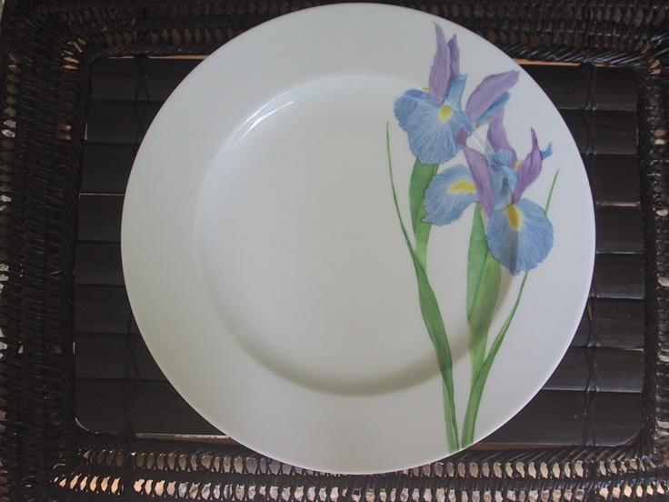 blue iris hand painted on Limoges Porcelain/ Patricia Deroubaix (sur commande/special order) France