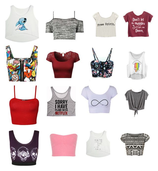"""""""Twelve Cheap Crop Tops"""" by ilovewriting22 ❤ liked on Polyvore featuring WearAll, Boohoo, Wet Seal and Miss Selfridge"""