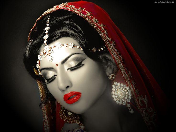 Kobieta, Makijaż, Indiańska, Panna Młoda, Biżuteria