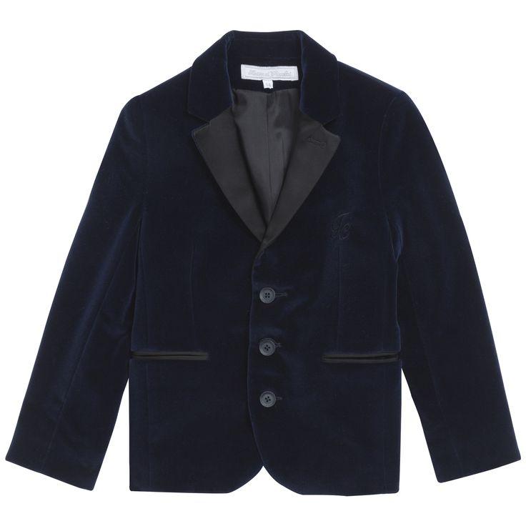 Stylish blue jacket in smooth velvet #outfit #FW15 #fall #winter #kidsfashion #ceremony  #blue #jacket #velvet