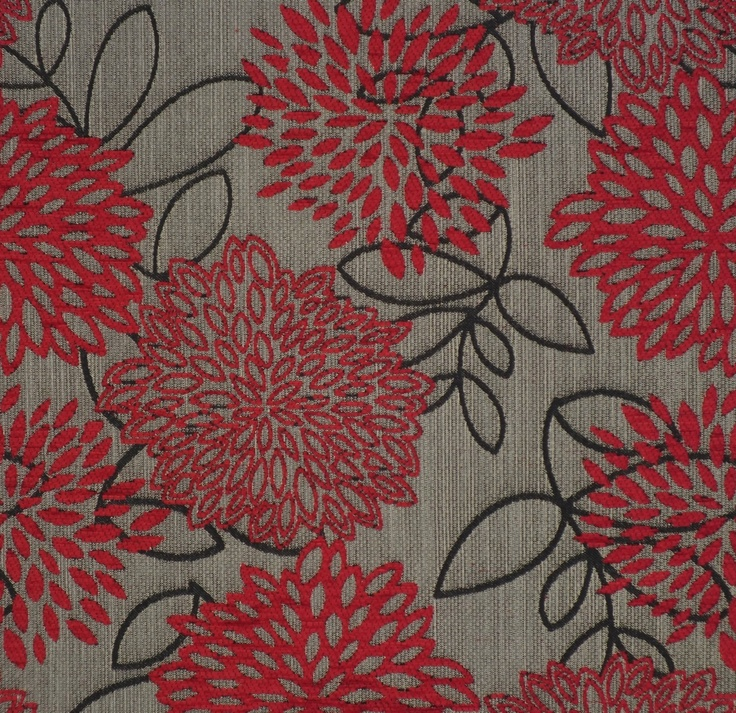 Red floral upholstery fabric - Jerica Ruby by Charles Parsons Interiors #red #fabric #upholstery #floral #charlesparsonsinteriors