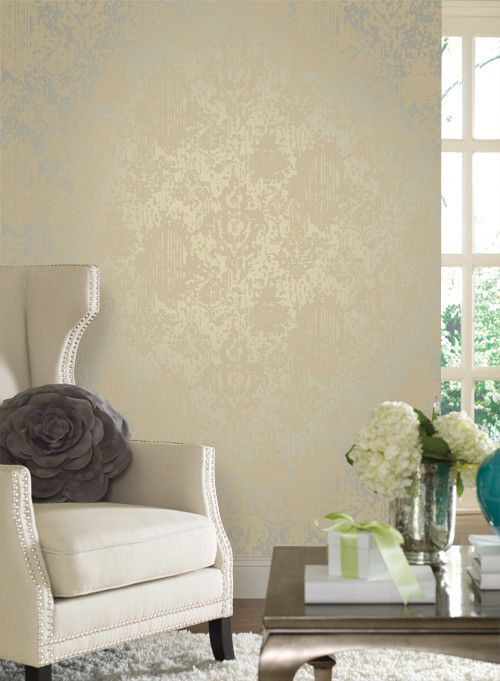 """""""Majestic"""" wallpaper in beige & pale blue with shimmering damask accents inspired by movie """"Fantasia"""" from Walt Disney Signature."""