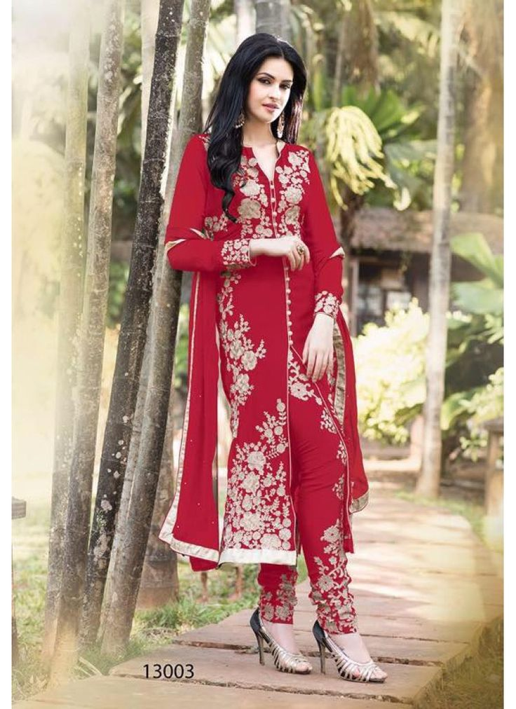 reception wear georgette embroidary red suits13003