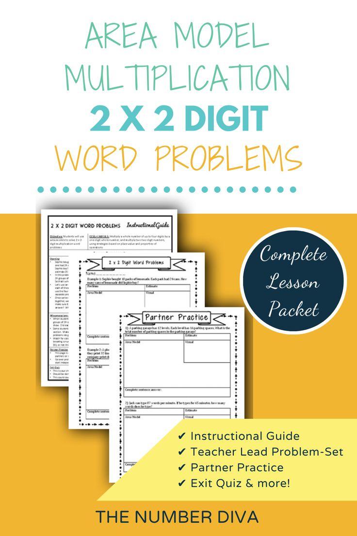 Area Model Multiplication 2 x 2 Digit Word Problems