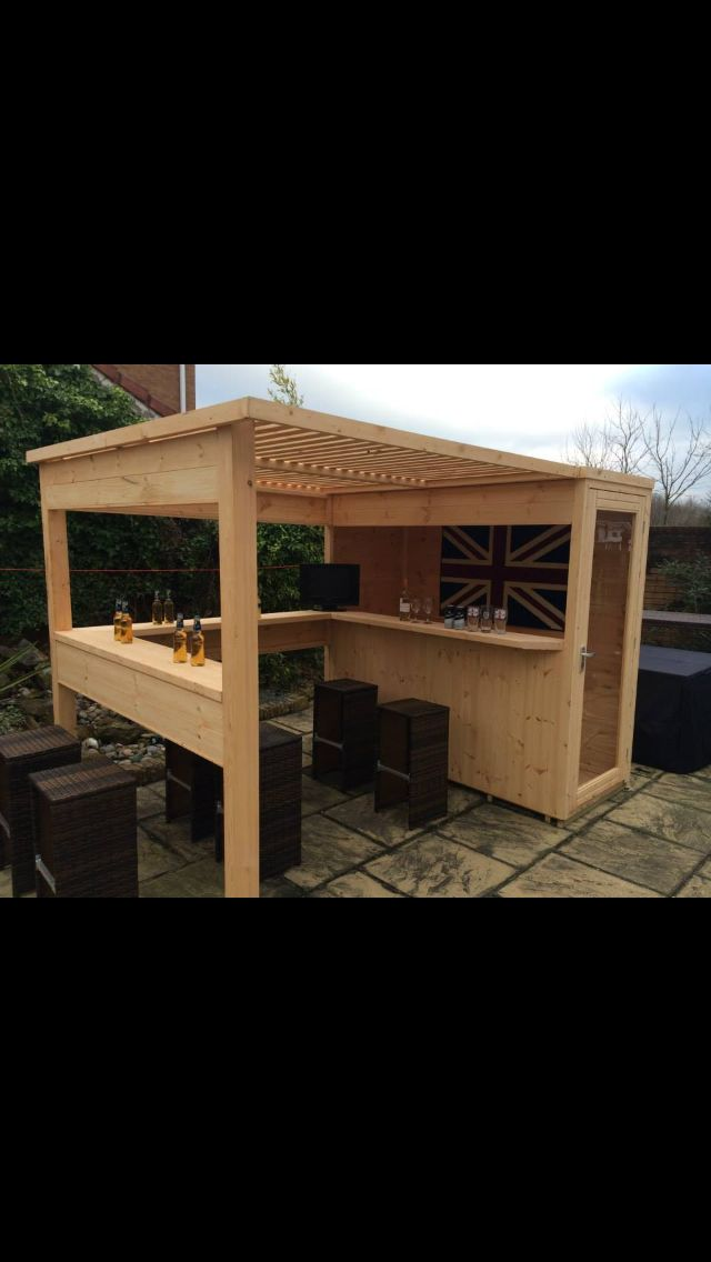The sports bar. garden bar. garden shed with removable security hatch