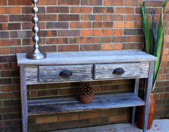 Gray Reclaimed Wood Sofa / Entry Table by natureinspiredcrafts,  Thanks to nature inspired crafts this custom table will be gracing the beach house this spring. YAY