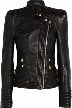 This is everything. Diamonds are not every girl's best friend... Balmain Leather biker jacket | NET-A-PORTER