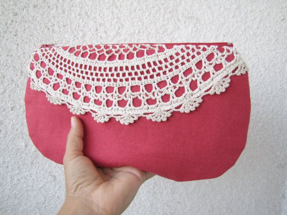 pretty linen and lace clutch