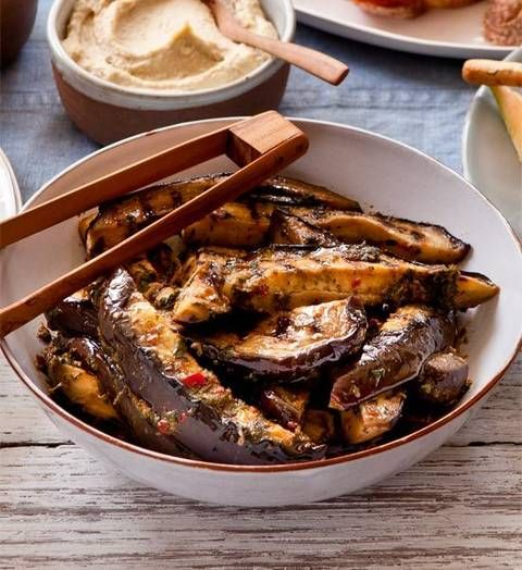 Barbecued eggplant strips: All dressed up with a mix of chilli, garlic and oregano, slices of smoky chargrilled eggplant are set to shine at your relaxed soiree.