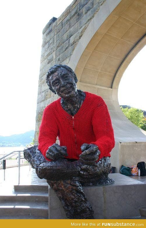 """Mr. Rogers statue was """"yarn-bombed"""". This is the most appropriate yarn bombing I've ever seen. I think he'd love this!"""