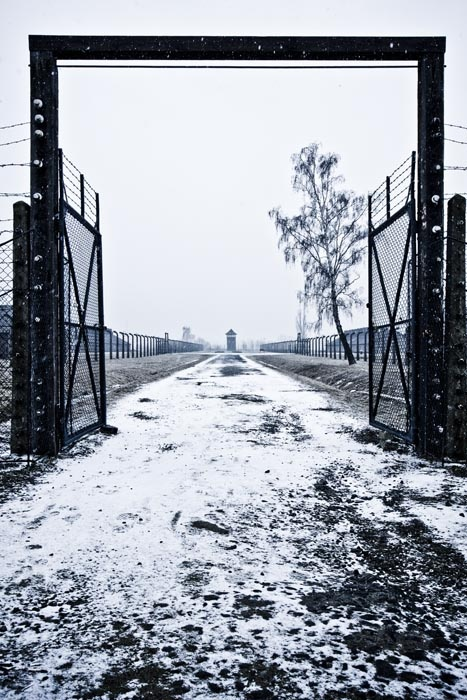 Auschwitz II-Birkenau. One of internal gates of the camp and a road dividing sectors BIa and BIb (female camps).