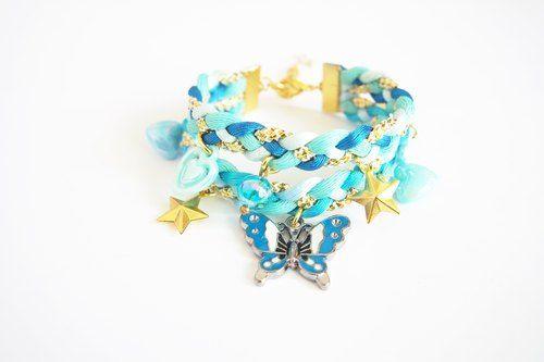 Blue butterfly bracelet - double stand bracelet