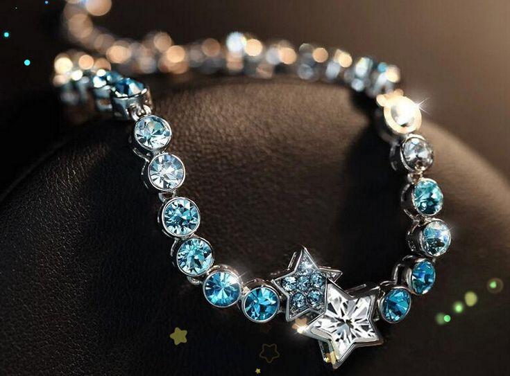 Women Fashion Jewelry Star Heart Shaped Crystal Bracelet