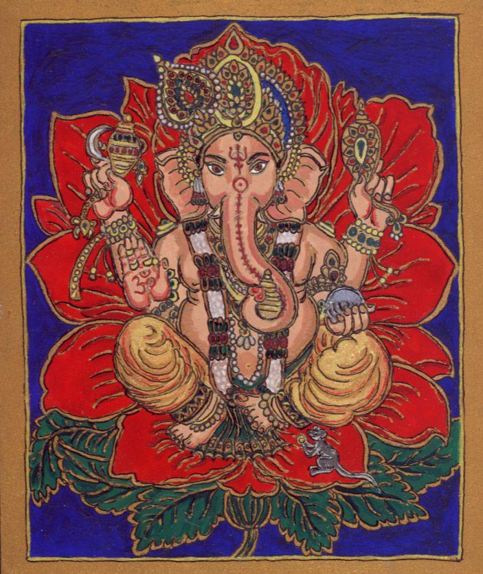 Ganésa (2010 nyár, Jupiter a Kosban) Az elefántfejű, nagy hasú Ganésa a legnépszerűbb hindu istenség, a költők és kereskedők védnöke, jóindulatú segítségével elhárulnak az alkotó, vállalkozásba kezdő ember előtt tornyosuló akadályok. http://terebess.hu/szorolapok/ganesa.html