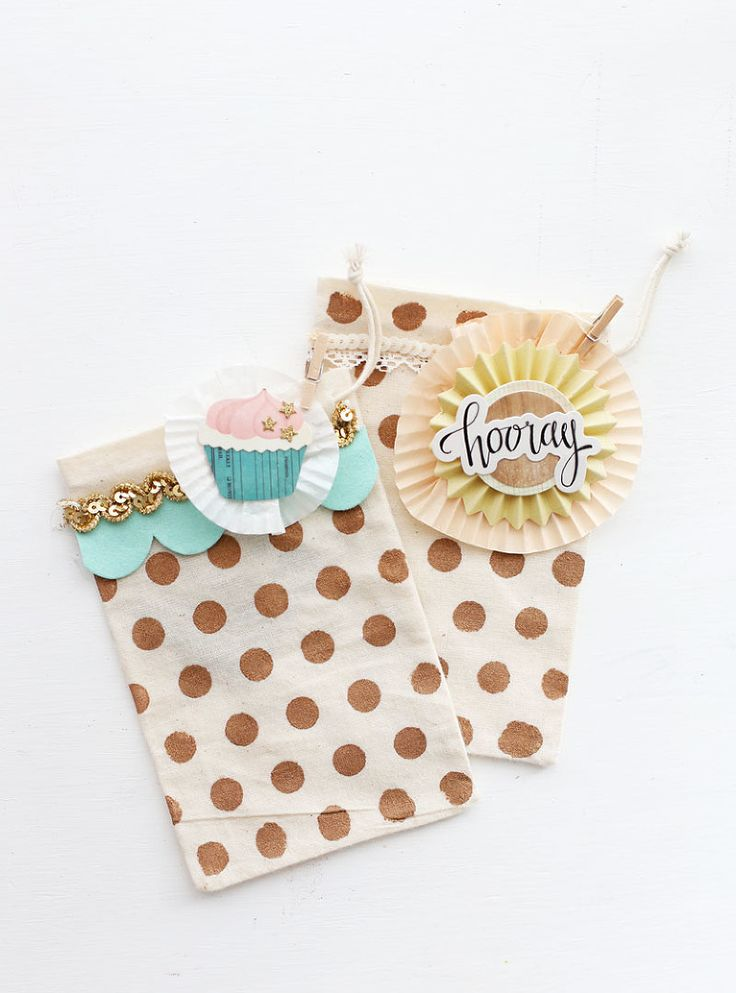 DIY polka dot stamped bags - use for gift bags or party favors - polka dot stencil and bag kit from Maggie Holmes Confetti collection