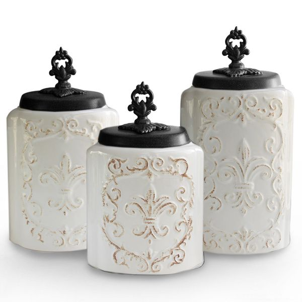 $49.99Antique White Canisters (Set Of 3) Overall 9.3u0027u0027 H X 4.5