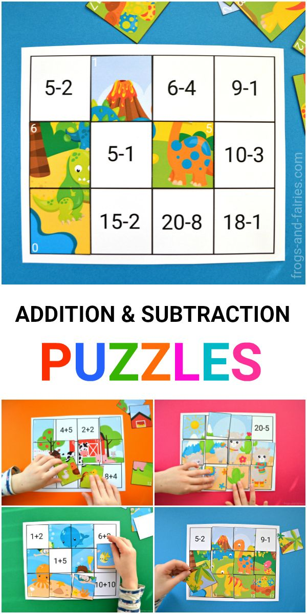 This colorful Addition and Subtraction to 20 Puzzles printable includes 6 different puzzles, that'll help your little learners to practice! #puzzles #addition #subtraction #printablesforkids