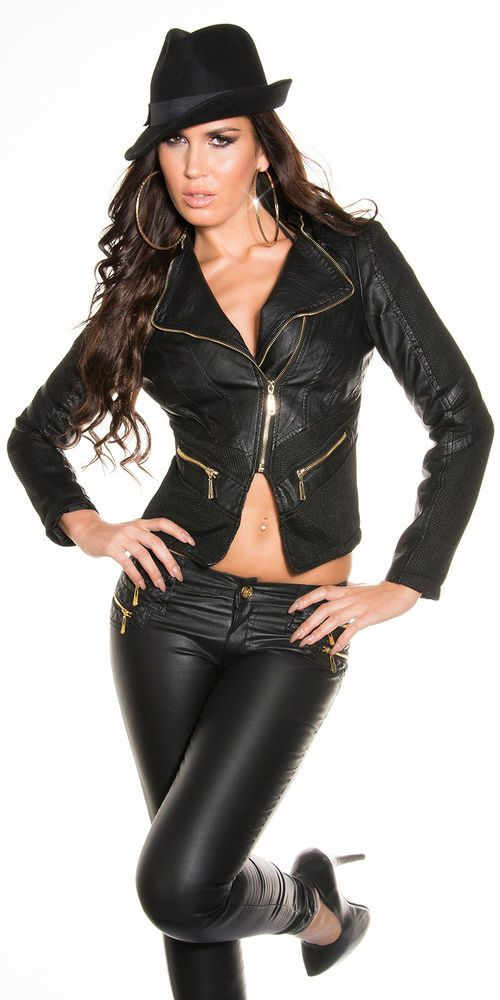 SEXY WOMEN S LEATHER JACKET  SEXY GIACCA DONNA SIMILPELLE SFIANCATA