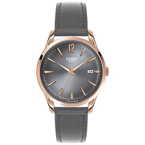 Buy Henry London HL39-S-0120 Women's Finchley Date Leather Strap Watch, Grey Online at johnlewis.com
