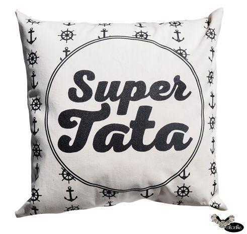 Super Tata, poduszka dekoracyjna w kotwice
