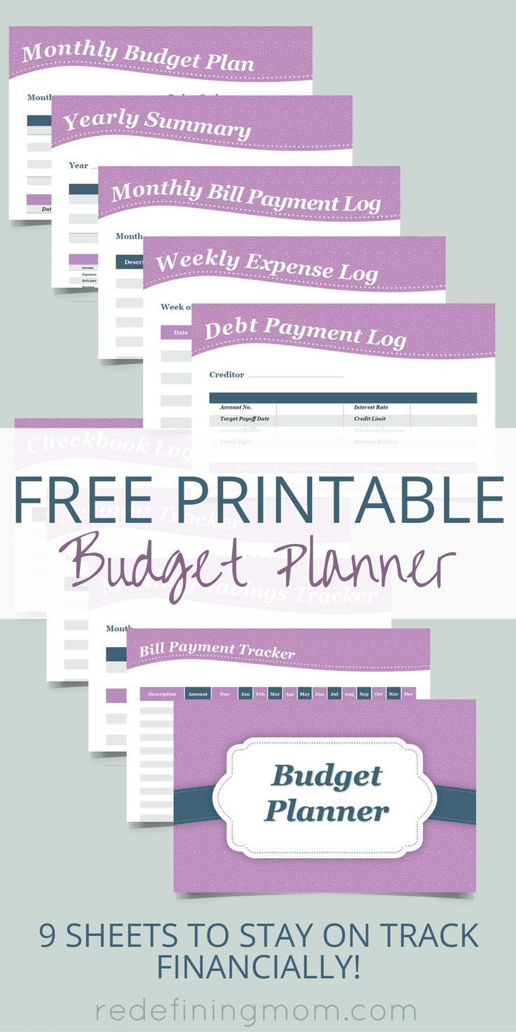 Download this FREE printable budget planner! It comes with 9 sheets to help you plan your budget, pay bills, and keep track of important financial records. The sheets include: weekly expense log, bill payment tracker, monthly bill payment log, monthly bud