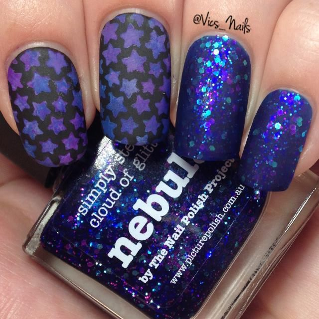 Starry night nails using Picture Polish Nebula, OPI NZ 4 In The Morning and Super Cute in Pink, Chi Chi Cosmetics Don't Pimp My Style and butter LONDON Blagger. Star nail vinyls from http://store.whatsupnails.com/collections/winter-new-year-christmas-nails-nail-art-products/products/stars-stickers-stencils Topcoat is Matte topcoat from OPI NZ.