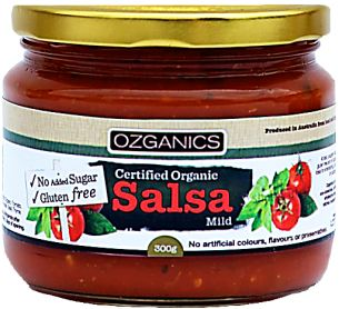 Ozganics - Mild Salsa No Sugar Added - $4.50  Hand blended with selected organic herbs and spices you'll find this salsa tops the charts as Australia's most deliciously wholesome salsa! No sugar added.