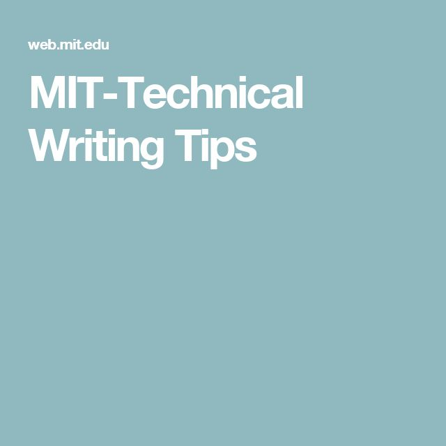 MIT-Technical Writing Tips