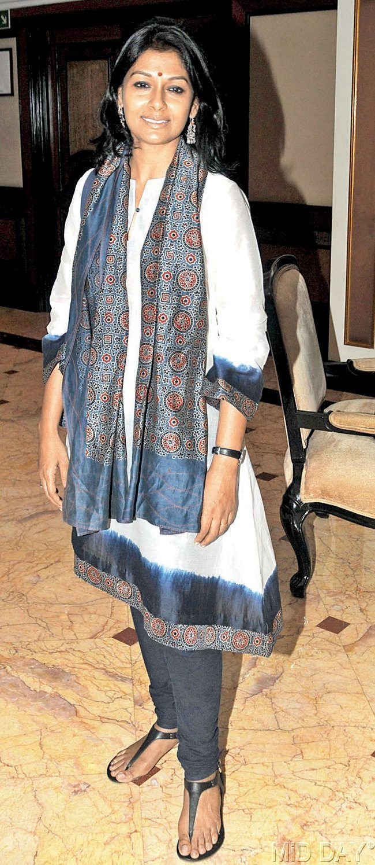 Nandita Das at a book launch of an Indian American writer.