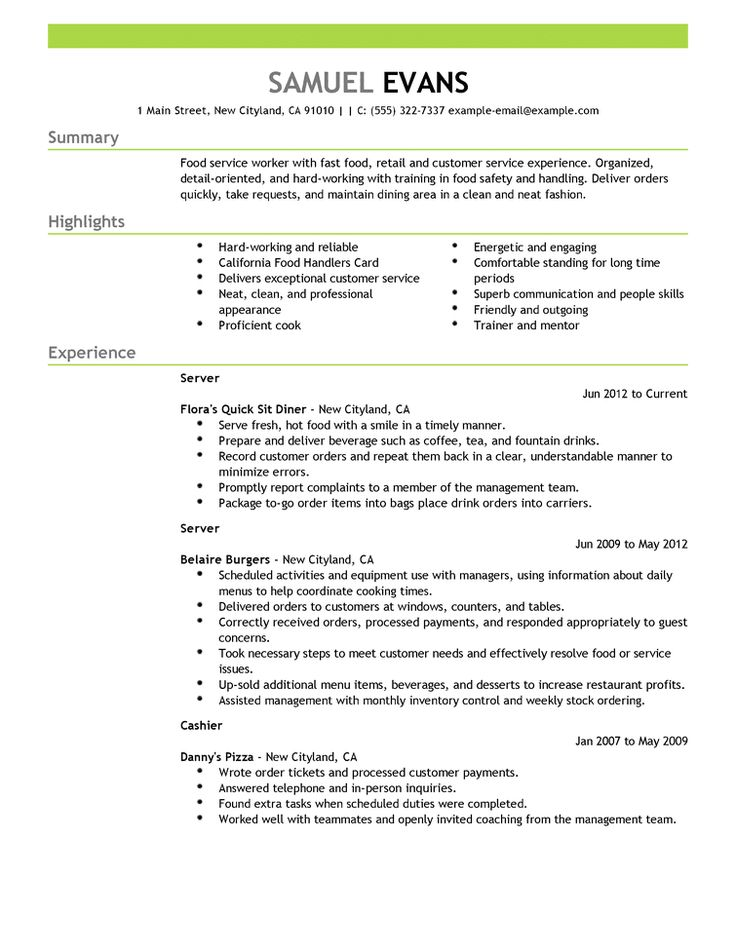 7 best resume images on Pinterest Latest resume format, Engineer - resume for food server