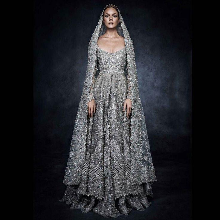 Intricately beaded #weddingdress by @elanofficial using @swarovski crystals  #desi #bridal