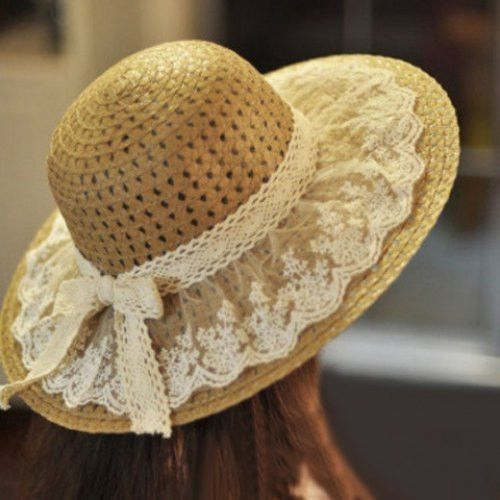 Chic Bowknot and Lace Embellished Straw Hat For Women