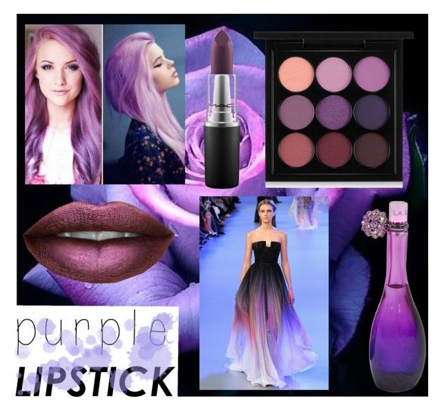 """""""Purple #purplelipstick"""" by real-21c on Polyvore featuring MAC Cosmetics, Jennifer Lopez and Elie Saab"""
