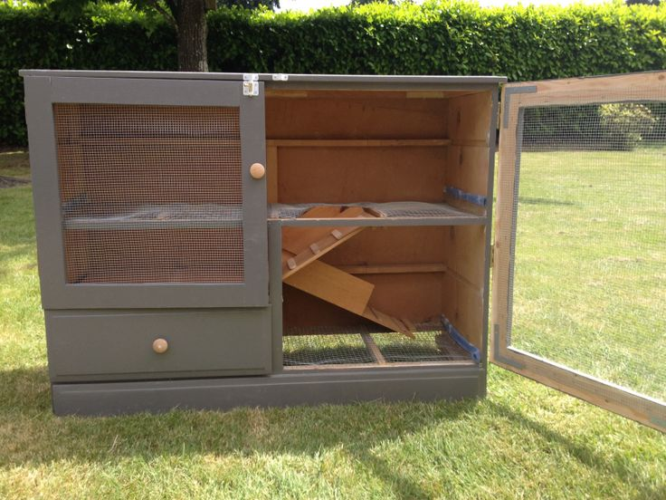 Old dressers rabbit and dressers on pinterest for Rabbit cage made out of dresser
