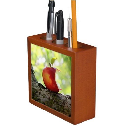 Red Apple With a Bite Out.  Desk organizer.  Nice gift for teacher or great for student's desk.