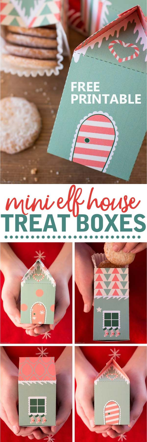 Free printable elf house treat boxes for Christmas. These fun treat boxes make perfect Secret Santa presents, stocking stuffers, and  cookie holders. #christmas #treatbox #elf