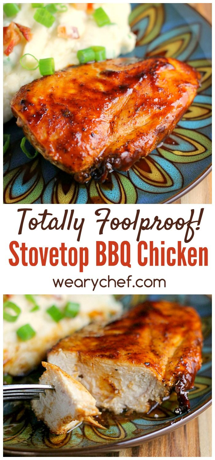 Enjoy perfect BBQ chicken indoors with this quick and easy Stovetop Barbecue Chicken Recipe! This is an all-time reader favorite recipe, and I hope you love it too! #bbqchicken