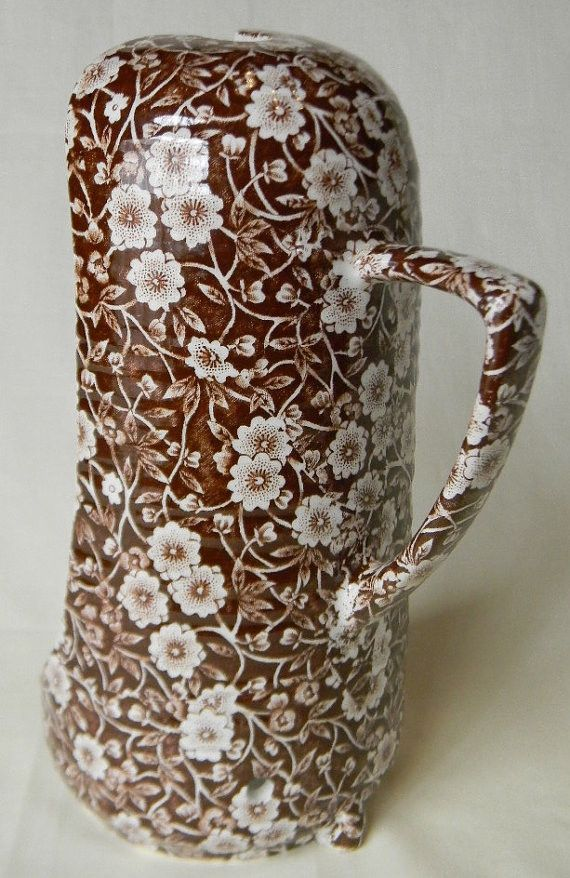 Vintage Brown Calico Chintz Transferware Victorian Style Hand Held Candle Lantern RaRe