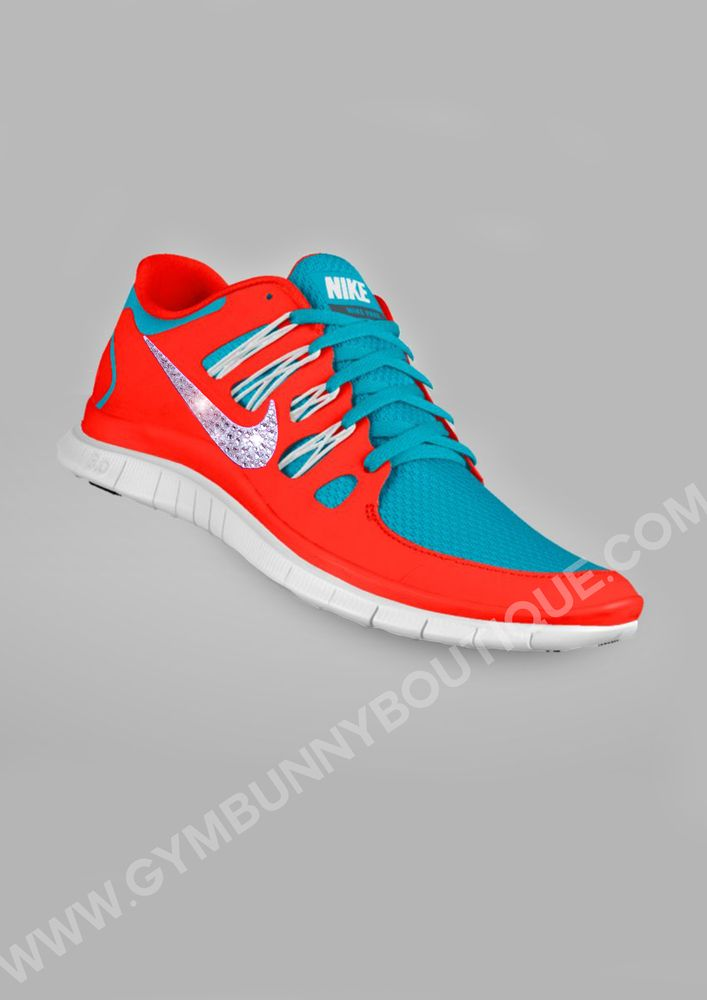 Red, White and Blue Nike Free Run 5.0 with custom Swarovski Tick , GLAM  GYM. Basketball ShoesSports ...