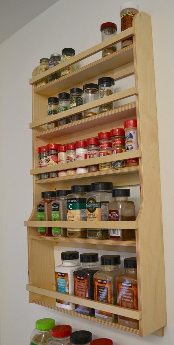Personalized Oak 4-shelf Spice Rack