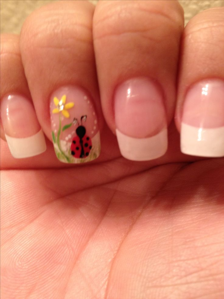Standard French Manicure with ring finger accent lady bug sunflower floral flower easy free hand nail art