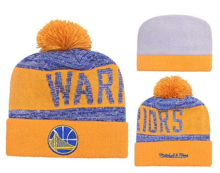 Men's / Women's Golden State Warriors Mitchell and Ness NBA Team Color Jacquard Stripe Knit Pom Pom Beanie Hat - Royalblue / Gold