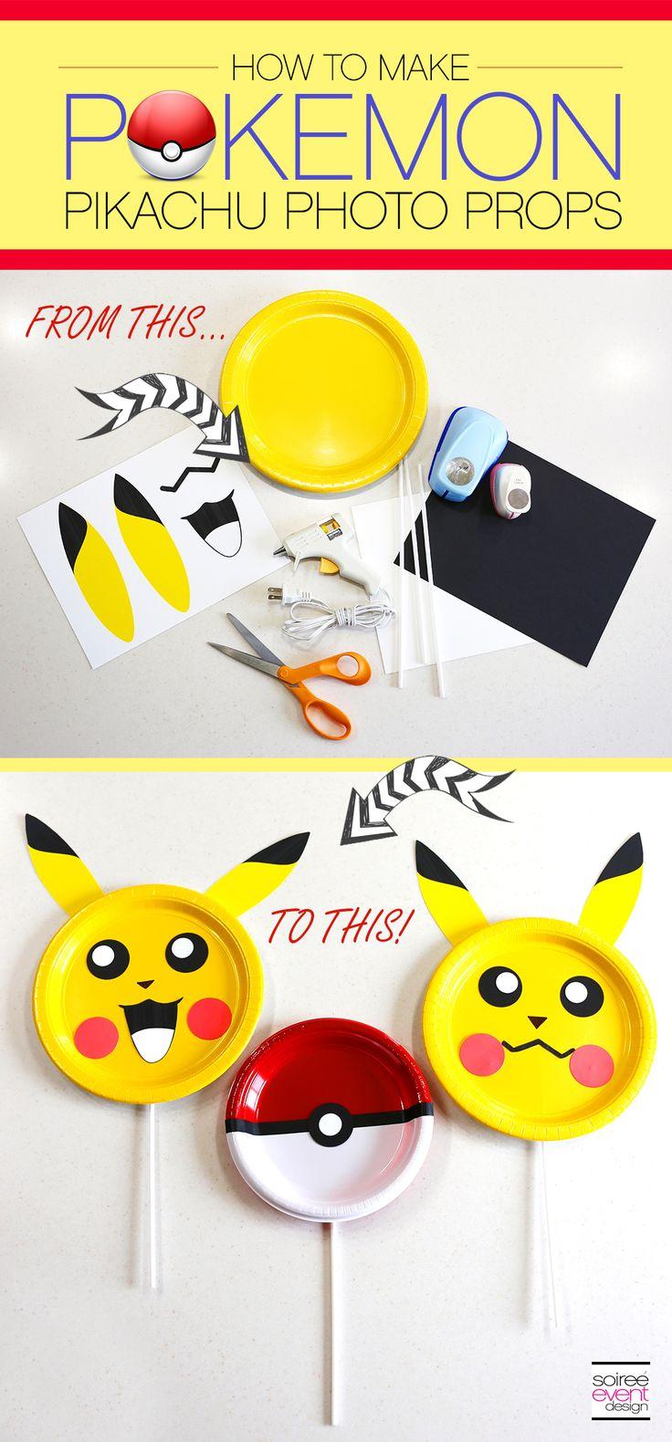 | Pokemon Party Ideas – DIY Pokemon Photo Prop Sticks! | http://soiree-eventdesign.com